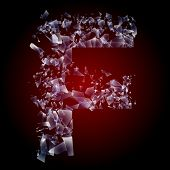 Alphabetic characters of broken glass. Sensitive to the background. Character f