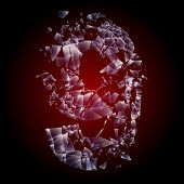 Alphabetic characters of broken glass. Sensitive to the background. Character 9