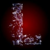 Alphabetic characters of broken glass. Sensitive to the background. Character  l