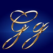 Old styled decorative characters of pure gold. Character g
