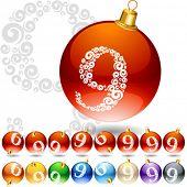 Versatile set of alphabet symbols on Christmas balls. Letter 9