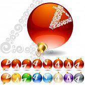 Versatile set of alphabet symbols on Christmas balls. Letter 4