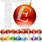 Versatile set of alphabet symbols on Christmas balls. Letter e