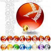 Versatile set of alphabet symbols on Christmas balls. Letter k