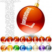 Versatile set of alphabet symbols on Christmas balls. Letter l