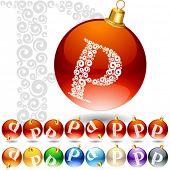 Versatile set of alphabet symbols on Christmas balls. Letter p
