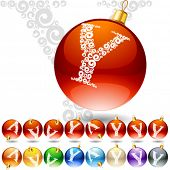 Versatile set of alphabet symbols on Christmas balls. Letter y