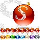 Versatile set of alphabet symbols on Christmas balls. Letter s