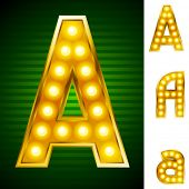 Letters for signs with lamps. Letter a