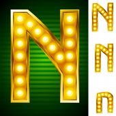 Letters for signs with lamps. Letter n