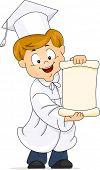 Ilustración de un niño despliegue su Diploma