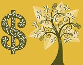 money tree with dollar signs burst from some branches vector