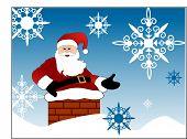 Постер, плакат: Санта идя вниз по трубе с снежинки