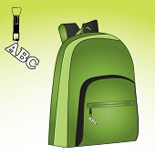 back to school backpack with abc charm on zipper