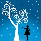 pic of reach the stars  - tree with girl  and stars - JPG