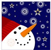 snowman with snowflakes and stars