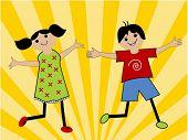 cartoon kids with sunburst behind