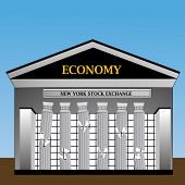 foto of nyse  - New York Stock Exchange with columns crumbling - JPG
