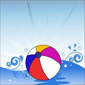 image of beach-ball  - beach ball floating on water with waves - JPG
