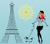 stock photo of snob  - Parisian woman walking the dog - JPG