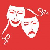 drama masks with musical notes on end of tie (separate elements)
