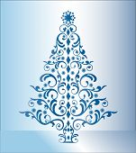 blue stylized christmas tree (separate elements)