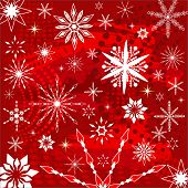 snowflakes over grunge in red