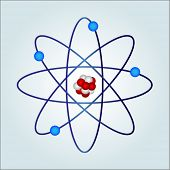 atom :  necules at center and electrons ('an elementary particle that is a fundamental constituent o
