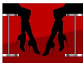 Silhouette of two woman sitting on stools (copyspace)