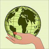 Hand with globe