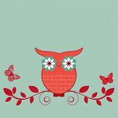 whimsical owl on bough