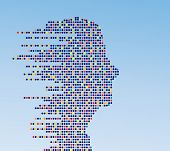 technologic male profile (made of circles)