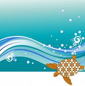 Turtle with waves copyspace