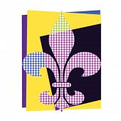 Art deco fleur de lis with dots