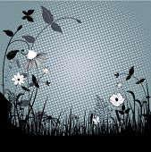 Wildflowers in field framing center
