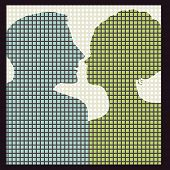 silhouette of couple (squares - circles surrounding)