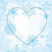 Ich liebe Winter Herzen von Sternen und Schneeflocken Hintergrund