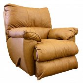 picture of recliner  - Plush Saddle Brown Leather Rocker Recliner Chair - JPG