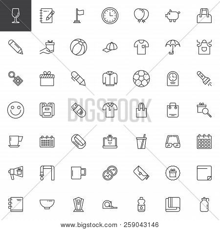 poster of Promotional Material Outline Icons Set. Linear Style Symbols Collection, Line Signs Pack. Vector Gra