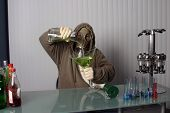 bartender in a gas mask, name your poison concept