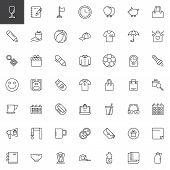 Promotional Material Outline Icons Set. Linear Style Symbols Collection, Line Signs Pack. Vector Gra poster