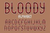 Bloody Red Alphabet. Gaming Stylized Font. Isolated English Alphabet. poster