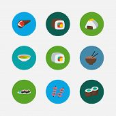 Nutrition Icons Set. Temaki And Nutrition Icons With Shrimp, Onigiri And Noodle. Set Of Tuna For Web poster