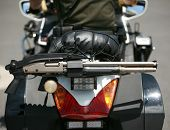 picture of chp  - motorcycle police with shot gun attached - JPG