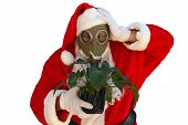 isolated on white santa claus wears a gas mask in an effort to get you to help him stop global warm