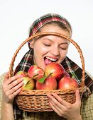 Woman Villager Carry Basket Natural Fruits. Lady Farmer Gardener Care About Vitamin Healthy Nutritio poster