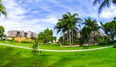 Typical Southwest Florida Home In The Countryside With Palm Trees, Tropical Plants And Flowers. Palm poster