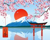 Japan Landscape Elements Symbols Landmarks Realistic Composition With Rising Sun Fuji Mountain Cherr poster