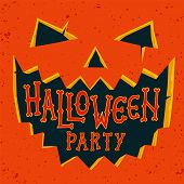 Halloween Party Invitation Card. Halloween Pumpkin With Carved Face And Text Halloween Party. Hallow poster
