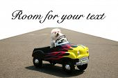 a bichon frise dog drives her hot rod pedal car around town on the road with a vanishing point on wh